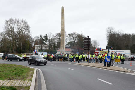 demonstration of yellow vest in december 2018 in fontainebleau in france