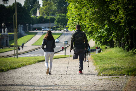 young couple with handicaped man