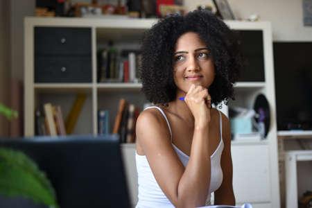 metis woman telecommuting at home