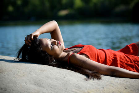 asian woman having sun in holidays Banque d'images