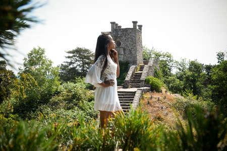 asian woman in nature landscape Banque d'images