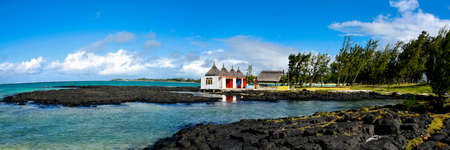 hinduism temple on the beach in mauritius island