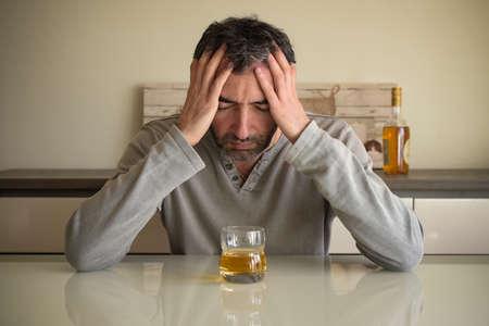 caucasian man addicted to alcohol