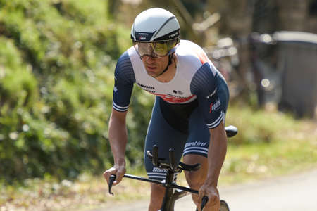 GIEN - FRANCE - 9 MARCH 2021: photography taken on a public street of edward theuns the race paris nice and the time trial of gien