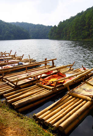bamboo craft in the lake photo