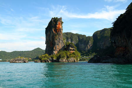 pomacanthus imperator: bueatiful island in krabi of thailand Stock Photo