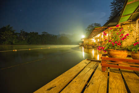the houseboat in kanchanaburi of thailand Stock Photo