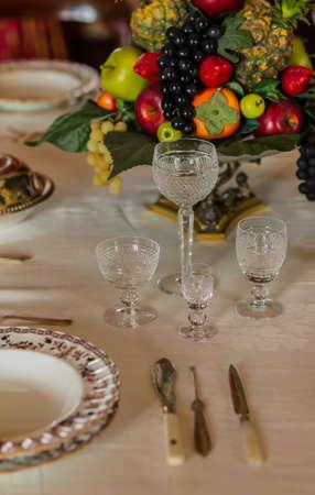 set of dinner on table