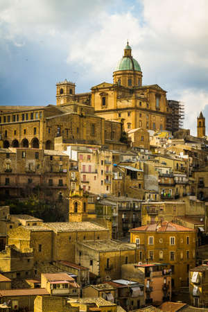 The town on hill in Sicily