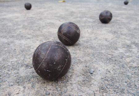 petanque: metal balls for Petanque Stock Photo