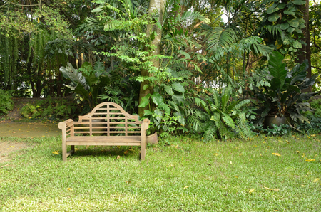 timber bench seat: timber bench in the garden