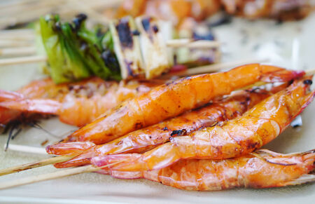 parch: Grilled prawns stick Stock Photo
