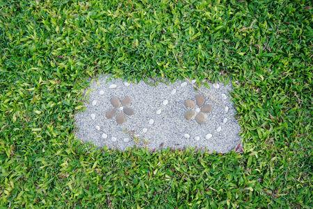 stepping stone: decorative garden stone floor tile Stock Photo