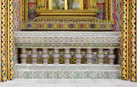 balustrade: ornamental balustrade in Thai motif detail Stock Photo