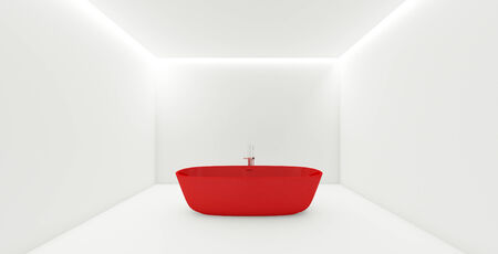 recessed: 3D rendering in red bathtub in white room with recessed light cove around Stock Photo
