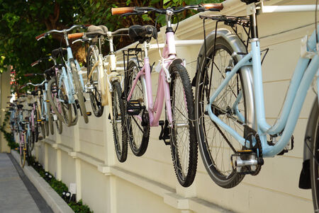 casters: Bicycle hanging on the wall