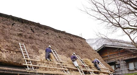 日本の夏のシーズンの準備ができてするわらの屋根を変更するローカルの職人