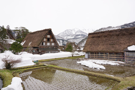 Stock Photo - Traditional beautiful Japanese house in the village in countryside of Japan made from timber and straw roof with agricultural rice field next ... & Traditional Beautiful Japanese House In The Village In Countryside ...