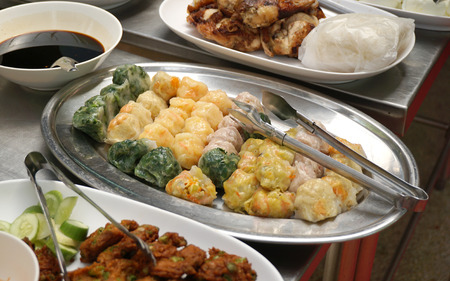 food stuff: Vegetarian food in Thailand, with chinese culture made from stream dough stuff with Chinese Chives, taro and shoot.