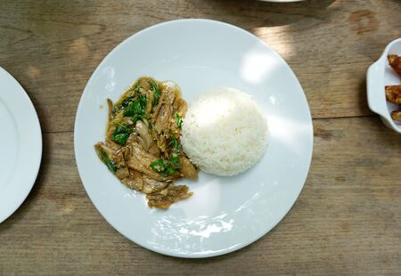 stir fried: Stir fried duck meat with basil serving with white rice