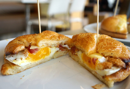 closed up: closed up of Bagle with egg and katch up