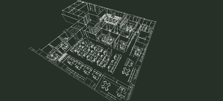 architect tools: Office isometric sketch line on black paper