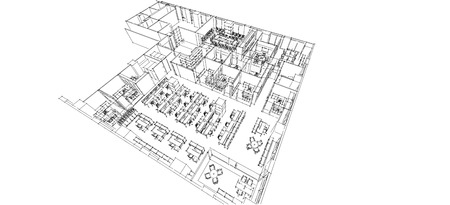 architect tools: Office isometric sketch line on white paper Stock Photo