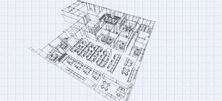 grid paper: Office isometric sketch line on grid paper Stock Photo