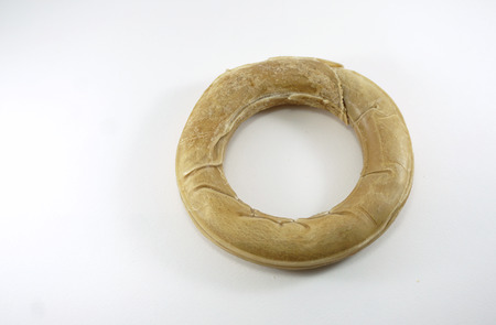 donut shape: Dog snack in the donut shape with white background