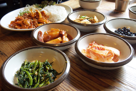 Traditional Korean side dish food on timber table