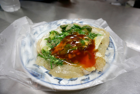 taiwanese: Fried oyster on platic plate Taiwanese style