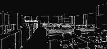 computer generation: Sketch line from computer generation of the modern interior office in white line on black background Stock Photo