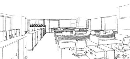computer generation: Sketch line from computer generation of the modern interior office in black line on white background