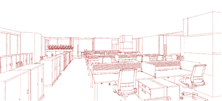 computer generation: Sketch line from computer generation of the modern interior office in red line on white background Stock Photo