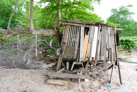 reclaimed: Damaged cabin at the beach made from reclaimed lumber