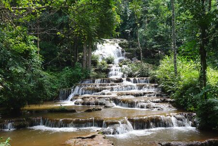 cataract falls: Pacharoen waterfalls is a small waterfalls in Tak province, west side of Thailand. Stock Photo