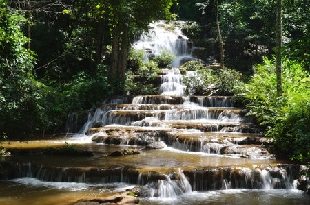 cataracts: Pacharoen waterfalls is a small waterfalls in Tak province, west side of Thailand. Stock Photo