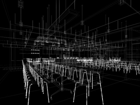generate: Canteen interior perspective wireframe line from computer generate program white line on black background