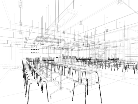 breakout: Canteen interior perspective wireframe line from computer generate program black  line on white background