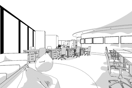 generate: office interior perspective line from computer generate program black line on white background