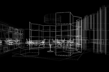 generate: office interior perspective wireframe line from computer generate program white line on black background