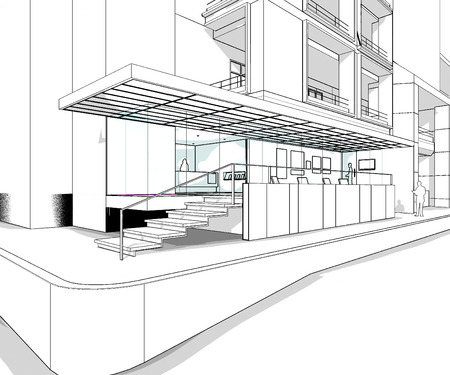 architect tools: Building exterior perspective wire frame line from computer generate program
