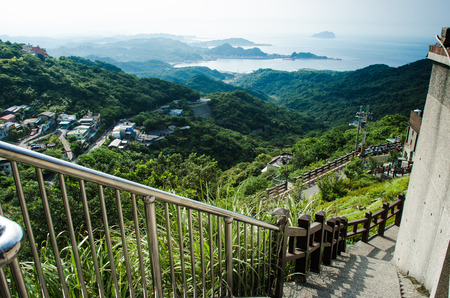 jiufen: Beautiful Jiufen Old town from top of the mountain with ocean background