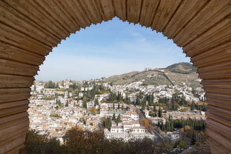 moors: Albayzin old town with the traditional Moors style arch at old town of Granada, Spain