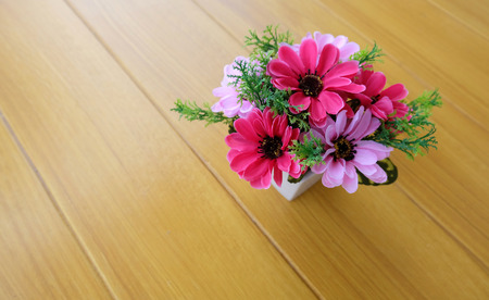 syntactic pink color flower on timber floor