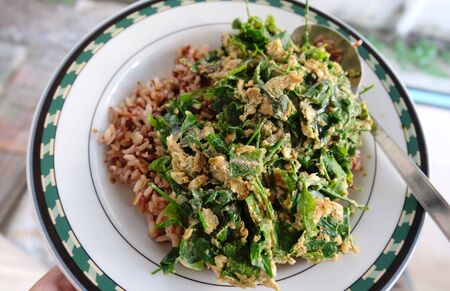 green vegetable: Homemade deep fried green vegetable with brown rice