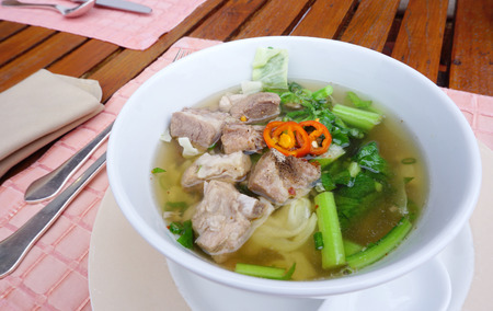 rips: wonton with pork rips soup for Asian breakfast