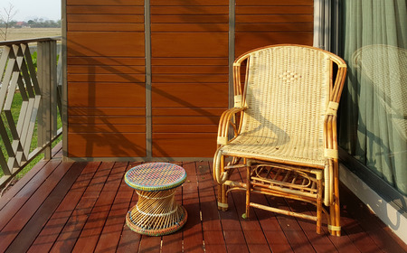 cane chair: wicker chair on the balcony outdoor