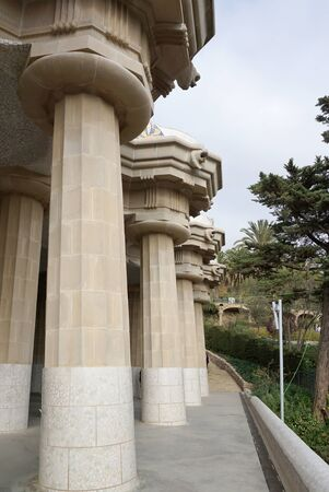 doric: Barcelona, Spain - 12 December,2015 :  Beautiful doric column structure support roof of the lower court detail at park guell on 12 December 2015 in Barcelona, Spain
