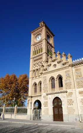 5 december: Toledo, Spain - 5 December,2015 : Beautiful architecture of the Clock tower at Toledo train station on 5 December 2015 in Toledo, Spain Editorial